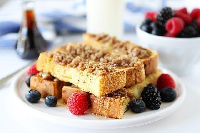 Cinnamon Streusel Baked French Toast Sticks Recipe on twopeasandtheirpod.com