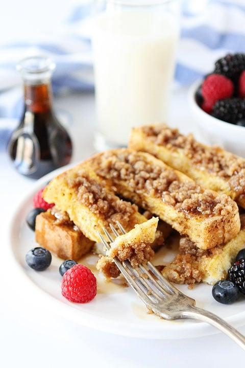 Cinnamon Streusel Baked French Toast Sticks Recipe on twopeasandtheirpod.com Our favorite breakfast treat!
