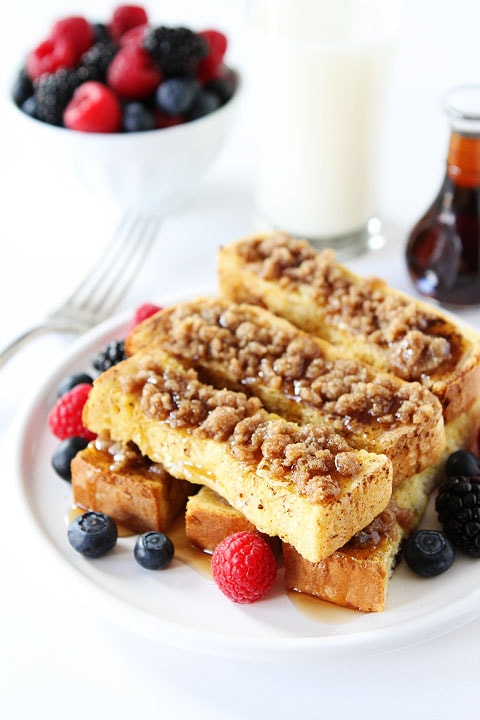Cinnamon Streusel Baked French Toast Sticks Recipe on twopeasandtheirpod.com You are in for a real treat!