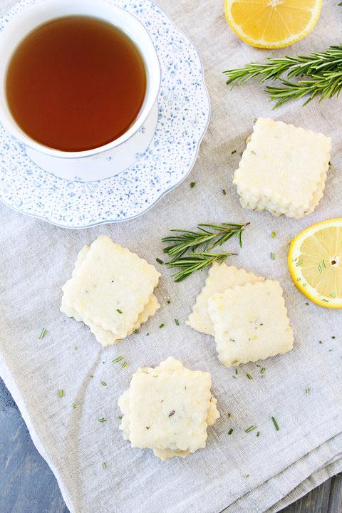 Lemon Rosemary Shortbread Cookie Recipe on twopeasandtheirpod.com