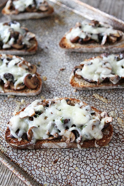 Roasted Mushroom and Gruyere Toasts Recipe on twopeasandtheirpod.com