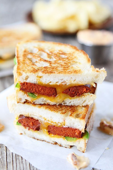 Chorizo Grilled Cheese with Chipotle Mayo Recipe on twopeasandtheirpod.com Cheesy, spicy, and SO good!