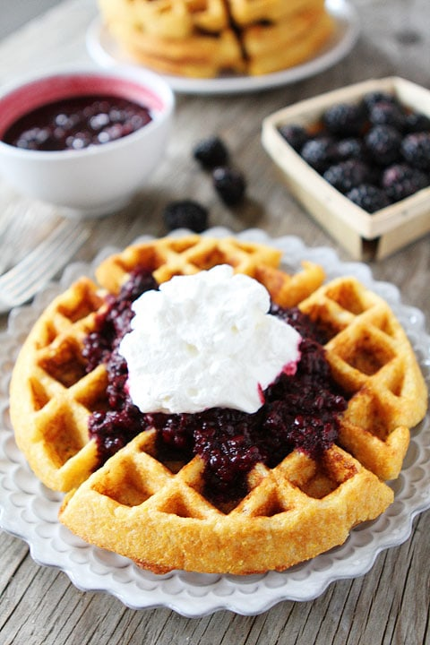 Cornmeal Waffles with Blackberry Compote Recipe on twopeasandtheirpod.com. A MUST make!