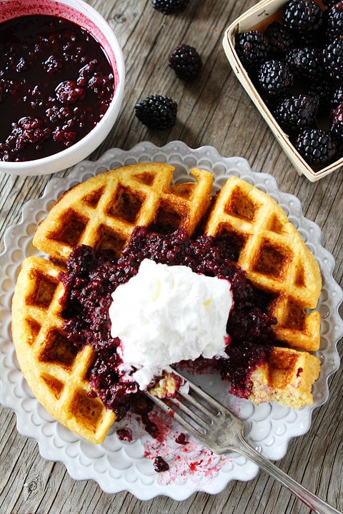 Cornmeal Waffles with Blackberry Compote Recipe on twopeasandtheirpod.com. #recipe #breakfast