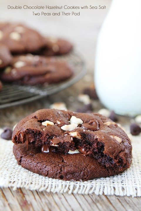 Double Chocolate Hazelnut Cookies with Sea Salt Recipe | Two Peas ...