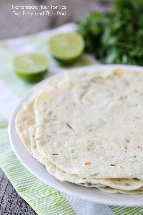 Homemade Flour Tortillas Recipe on twopeasandtheirpod.com Easy to make ...