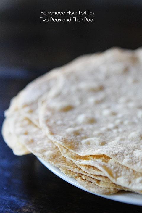 Homemade Flour Tortillas Recipe on twopeasandtheirpod.com SO easy to ...