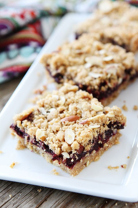 Jam Almond Crumb Bars Recipe on twopeasandtheirpod.com Simple to make ...