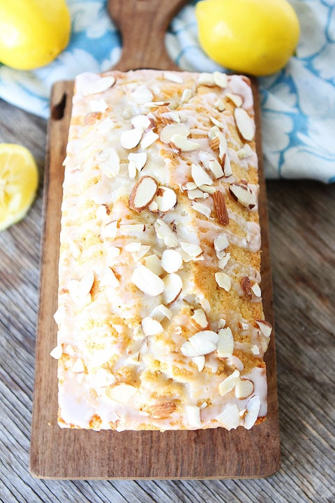 Lemon Almond Bread Recipe on twopeasandtheirpod.com Great for breakfast, brunch, or dessert!