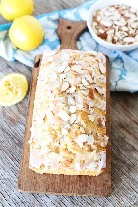 Lemon Almond Bread Recipe on twopeasandtheirpod.com Love this easy bread recipe! Great for gifts too!