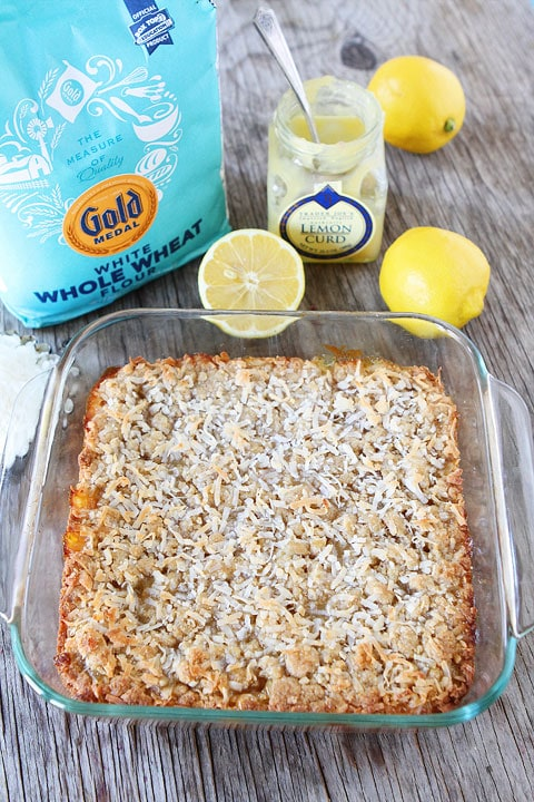 Lemon Coconut Crumb Bars Recipe on twopeasandtheirpod.com