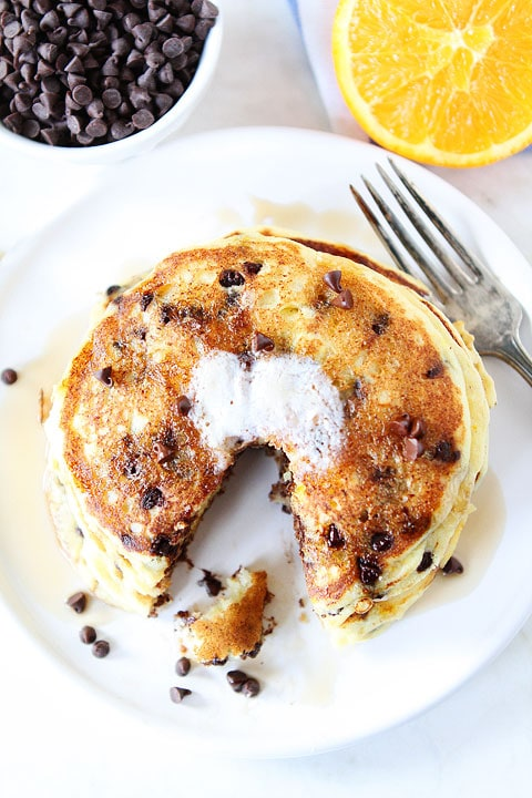 Orange Ricotta Chocolate Chip Pancakes   Ricotta Pancakes   Two Peas ...