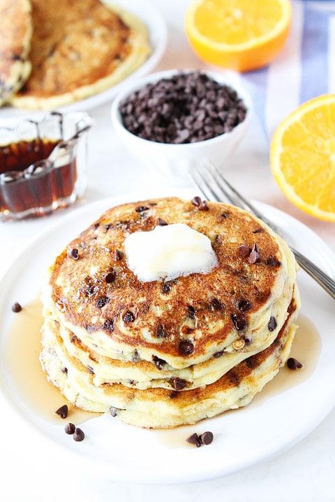 Orange Ricotta Chocolate Chip Pancakes Recipe on twopeasandtheirpod ...
