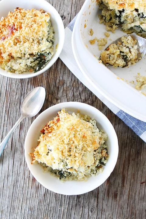 Spinach and Artichoke Quinoa Bake Recipe on twopeasandtheirpod.com Love this healthy quinoa bake!