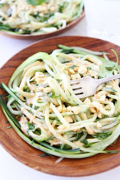 Cucumber Noodles with Peanut Sauce Recipe | Cucumber Noodles | Two ...