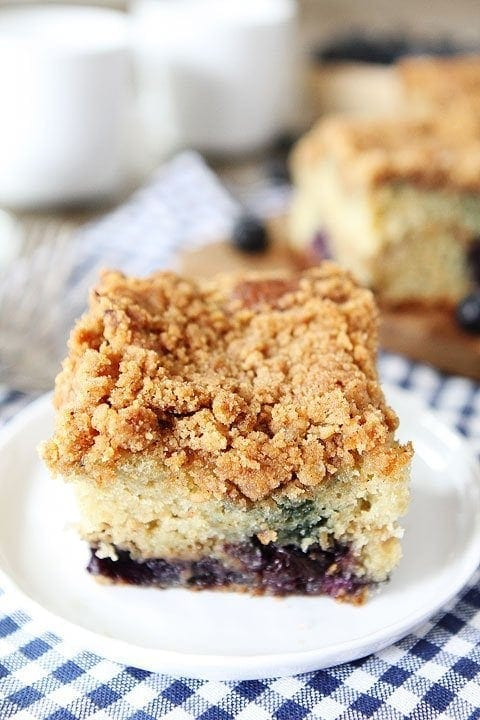 Blueberry Coffee Cake Recipe on twopeasandtheirpod.com. Love the blueberries and streusel topping! This cake is a MUST make!
