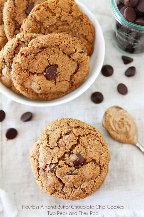 Flourless Almond Butter Chocolate Chip Cookies | Two Peas & Their Pod