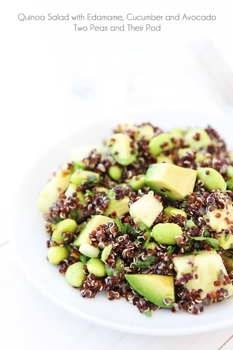 Quinoa Salad with Edamame, Cucumber and Avocado Recipe on twopeasandtheirpod.com Love this healthy salad! #glutenfree #vegan #salad