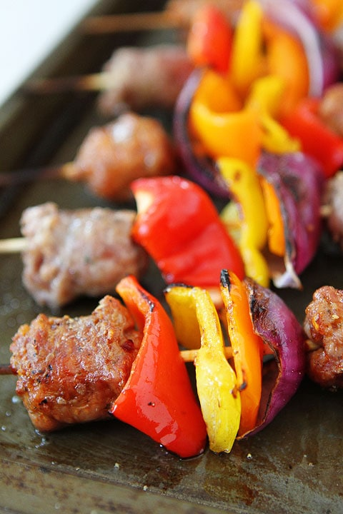 Sausage and Pepper Skewers Recipe
