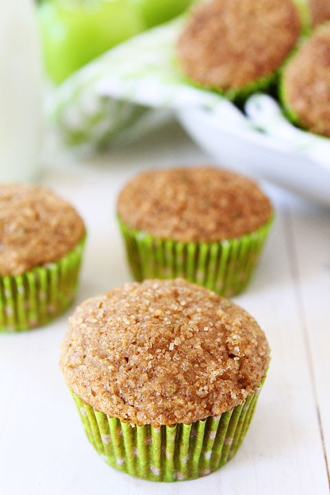 Apple Zucchini Muffins Recipe on twopeasandtheirpod.com Love these healthy muffins and they freeze well too! #zucchini