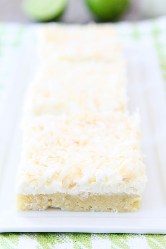 Coconut Lime Sugar Cookie Bars Recipe on twopeasandtheirpod.com The ...