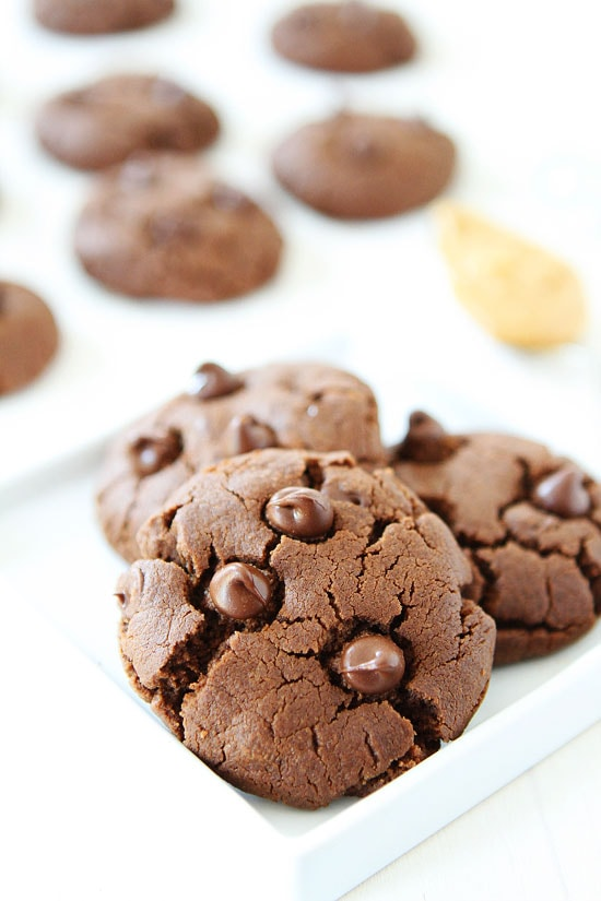 Flourless Chocolate Peanut Butter Cookies Recipe on twopeasandtheirpod ...