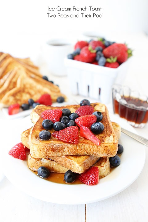 Ice Cream French Toast Recipe on twopeasandtheirpod.com The BEST French toast recipe! #breakfast #recipe