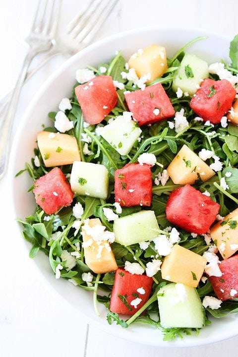 Melon Arugula Salad with Honey Lime Dressing Recipe on ...