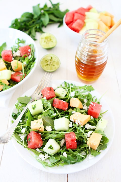 This Melon Arugula Salad with Honey Lime Dressing is a must make for ...