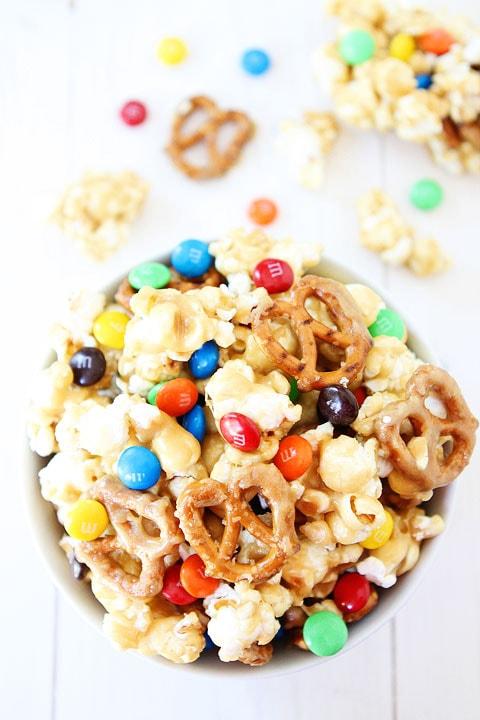 Sweet and Salty Marshmallow Popcorn Recipe on twopeasandtheirpod.com