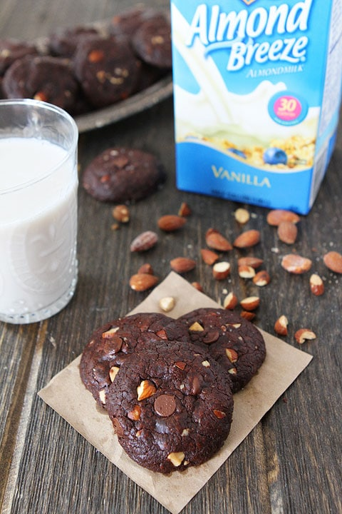 Vegan Chocolate Almond Cookies Recipe on twopeasandtheirpod.com #vegan #cookies #chocolate