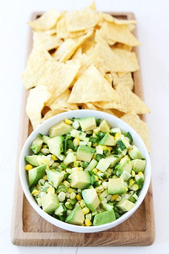 Zucchini, Corn, and Avocado Salsa Recipe on twopeasandtheirpod.com You ...