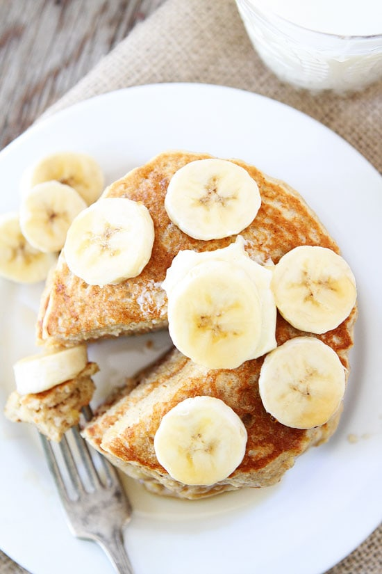 Banana Pancakes Recipe on twopeasandtheirpod.com Light, fluffy ...