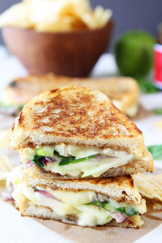 Brie, Fig, and Apple Grilled Cheese Recipe on twopeasandtheirpod.com A ...