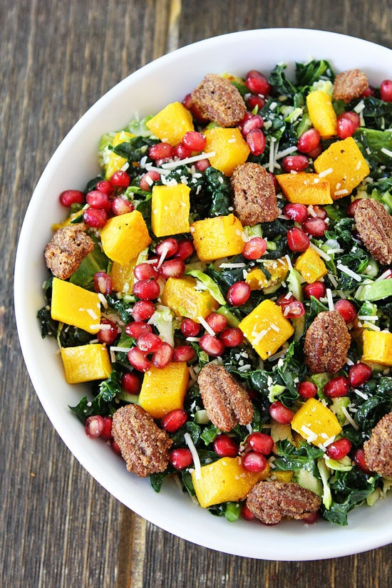 Kale and Brussels Sprouts Salad with Butternut Squash, Pomegranate ...