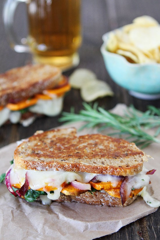 Sweet Potato and Kale Grilled Cheese Recipe on twopeasandtheirpod.com