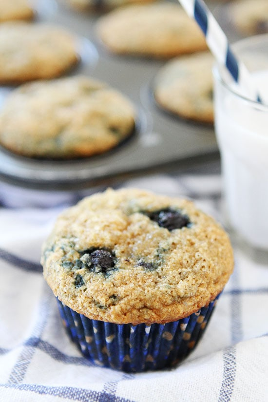 Vegan Banana Blueberry Muffins-whole wheat banana muffins that are ...