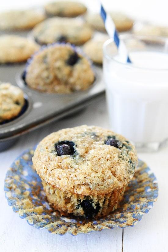 Vegan Banana Blueberry Muffins Recipe on twopeasandtheirpod.com