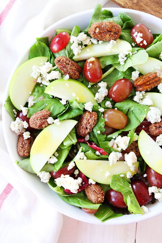 Apple, Grape, and Candied Pecan Salad with Maple-Mustard Dressing Recipe
