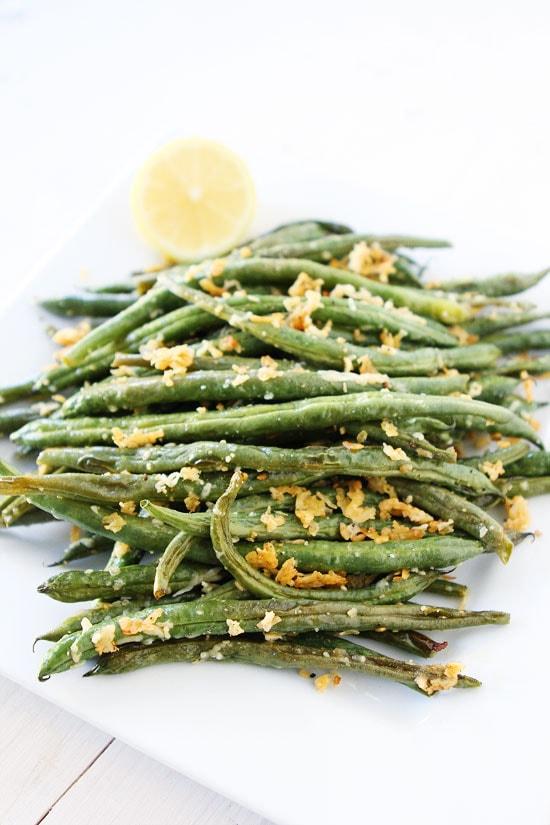 Roasted Lemon Parmesan Green Beans Recipe on twopeasandtheirpod.com ...