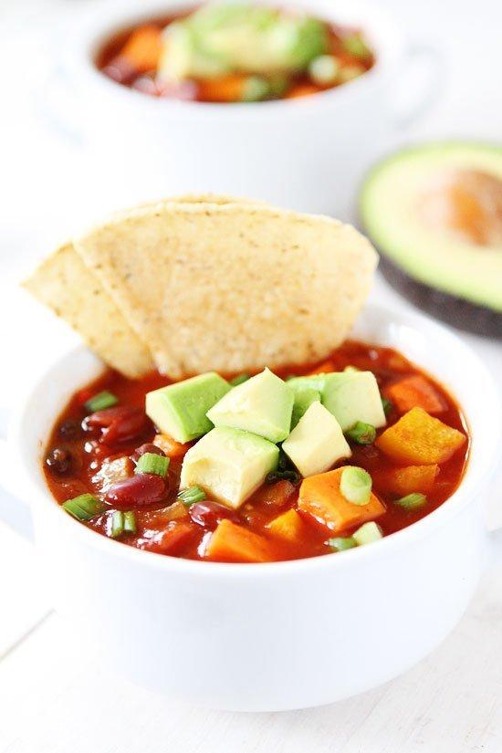 Slow Cooker Vegan Sweet Potato Chili Recipe on twopeasandtheirpod.com ...