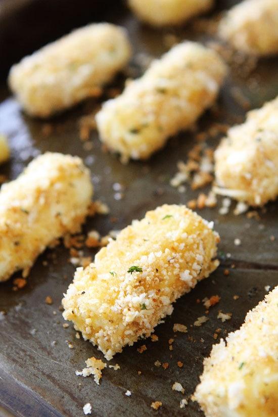 Baked Mozzarella Sticks Recipe on twopeasandtheirpod.com These easy ...