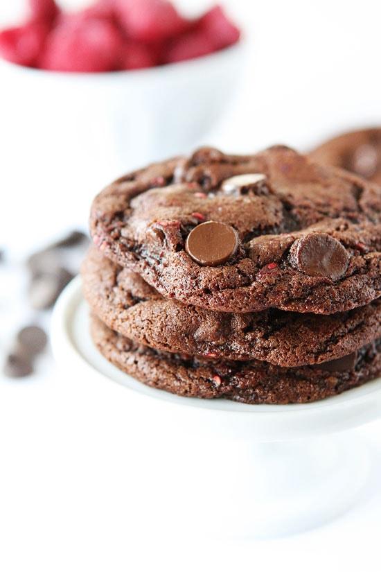 Dark Chocolate Raspberry Cookies Recipe on twopeasandtheirpod.com The ...
