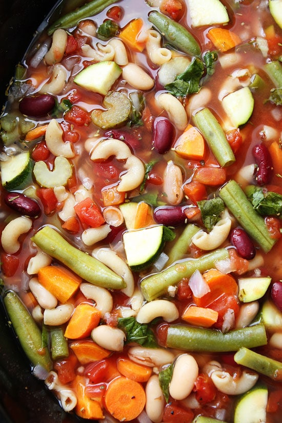 Slow Cooker Minestrone Soup Recipe on twopeasandtheirpod.com