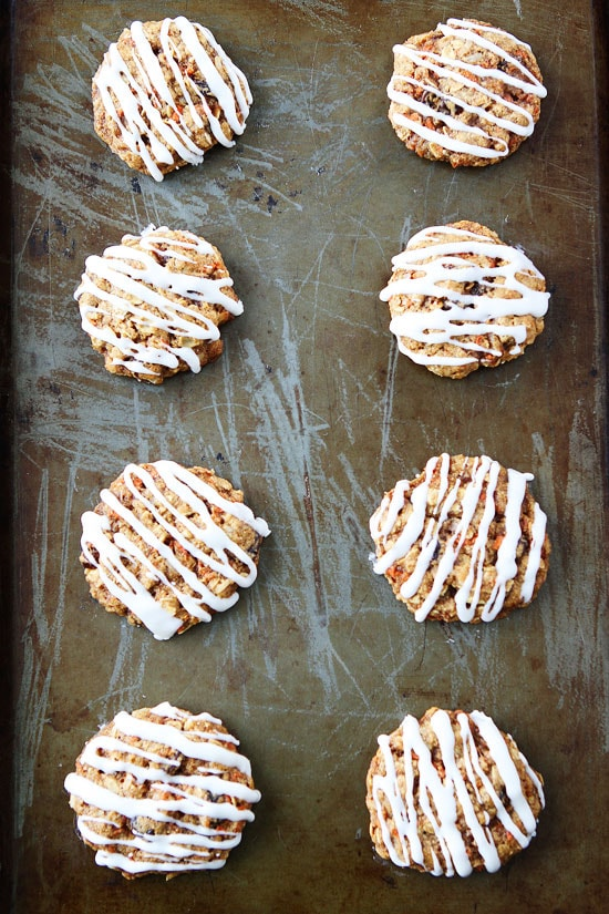Carrot Cake Oatmeal Cookies with Cream Cheese Glaze Recipe