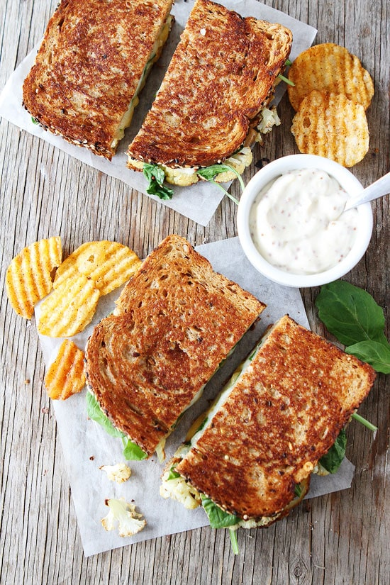 Roasted Cauliflower Grilled Cheese Recipe with Lemon Mustard Aioli