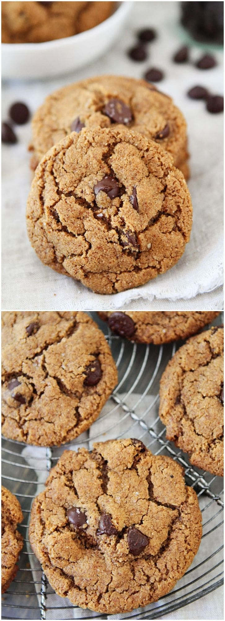 Flourless Almond Butter Chocolate Chip Cookies on twopeasandtheirpod ...