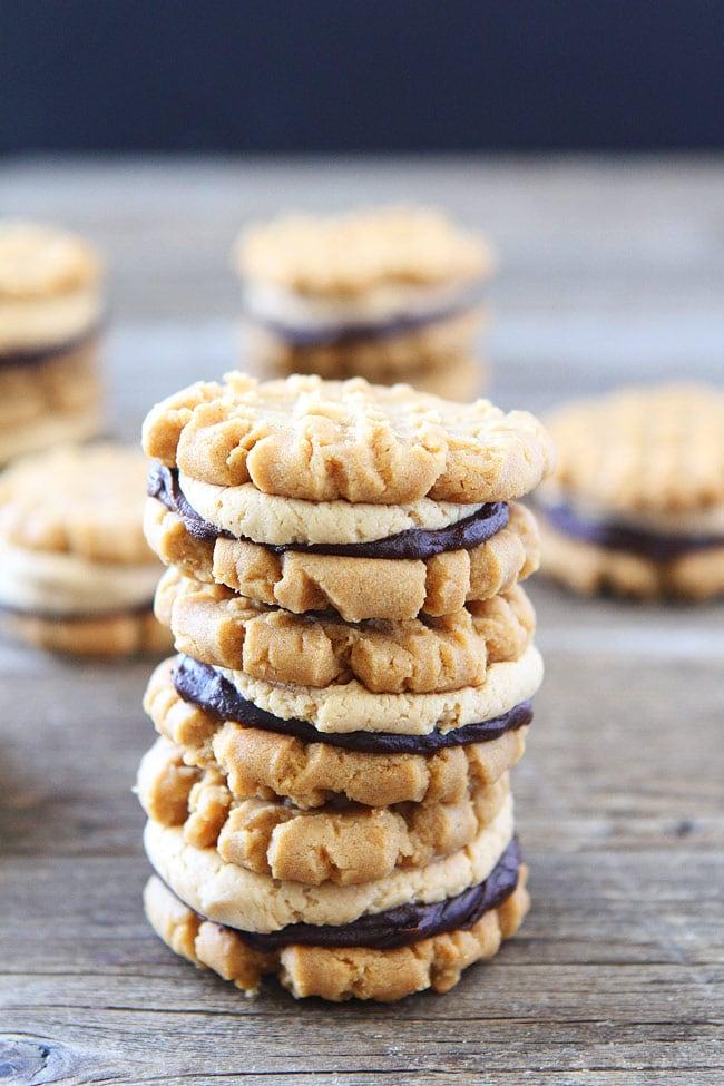 Flourless Peanut Butter Chocolate Ganache Sandwich Cookies