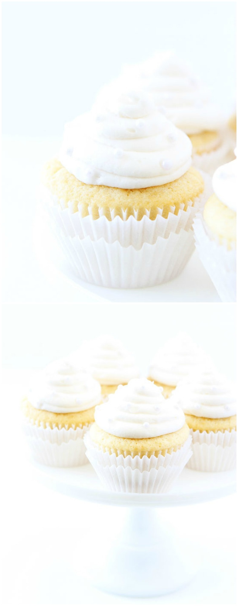 Vanilla Almond Cupcake Recipe on twopeasandtheirpod.com The BEST vanilla cupcake recipe! You have to try these!