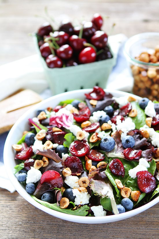Balsamic Grilled Cherry, Blueberry, Goat Cheese, and Candied Hazelnut Salad Recipe